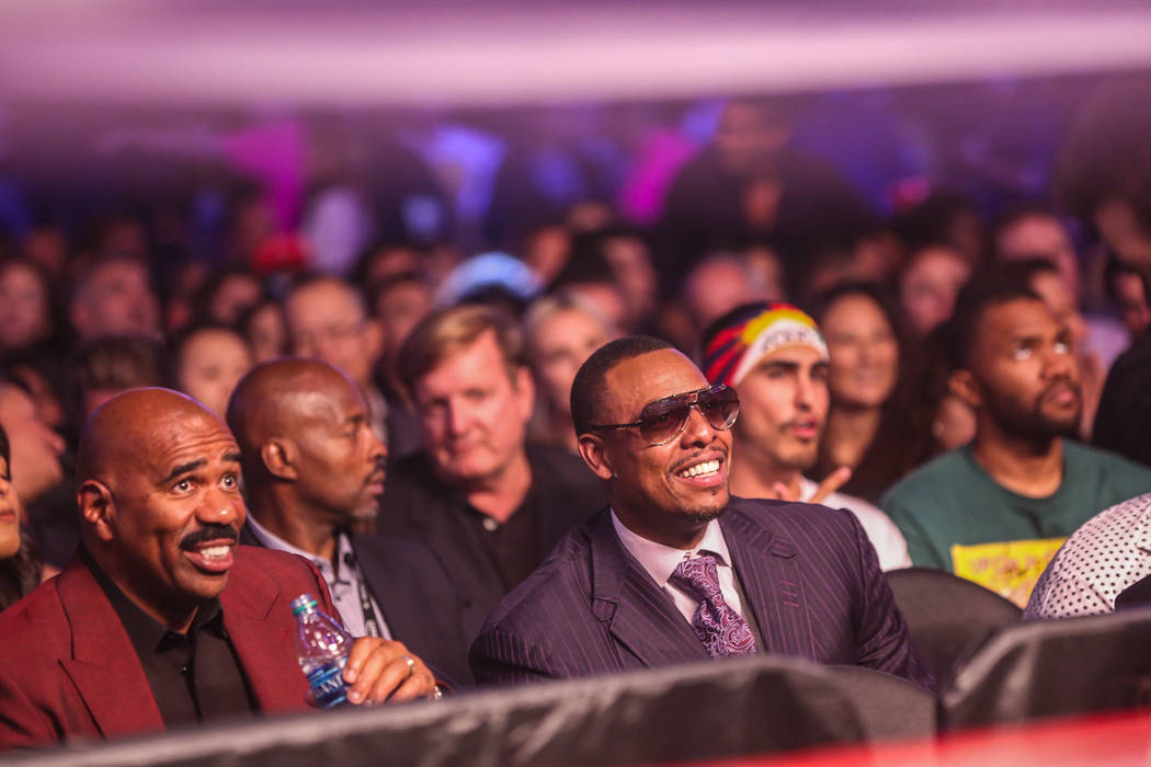 Steve Harvey and Paul Pierce before Floyd Mayweather Jr. takes on Conor McGregor at T-Mobile Arena, Saturday, Aug. 26, 2017, in Las Vegas. Benjamin Hager Las Vegas Review-Journal