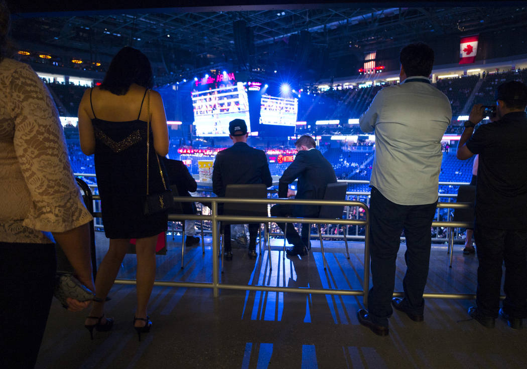 Fight fans on the concourse before Floyd Mayweather Jr. takes on Conor McGregor at T-Mobile Arena, Saturday, Aug. 26, 2017, in Las Vegas. Chase Stevens Las Vegas Review-Journal