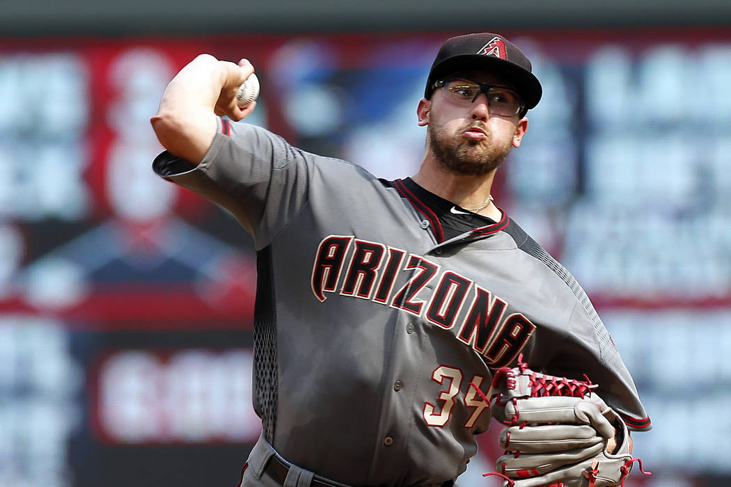 Arizona Diamondbacks pitcher Braden Shipley throws in relief in the in the fifth inning of a baseball game against the Minnesota Twins, Sunday, Aug. 20, 2017, in Minneapolis. (AP Photo/Jim Mone)