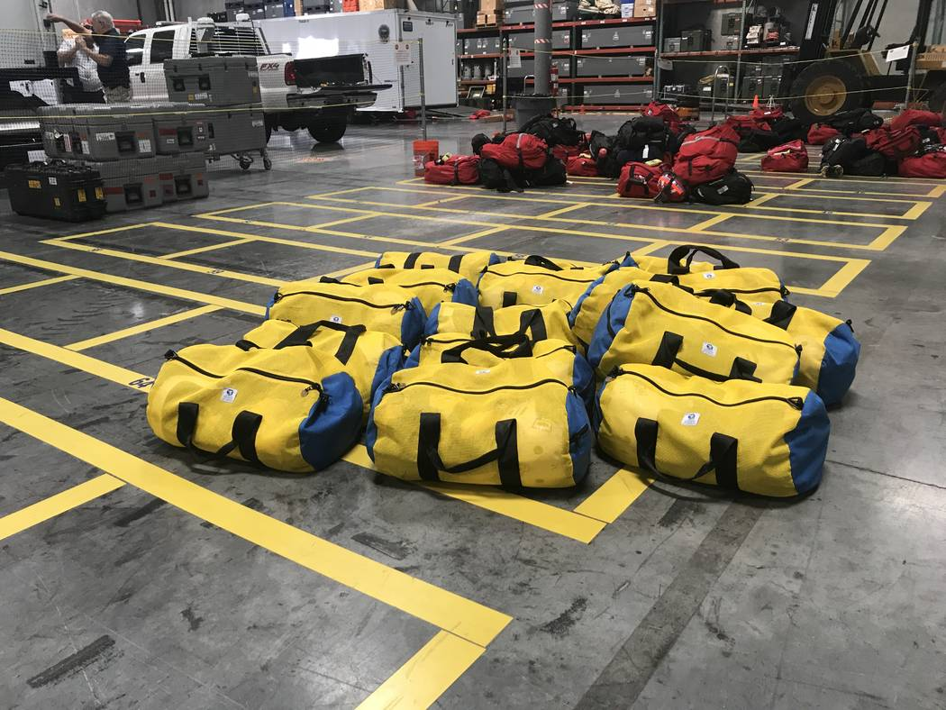 Emergency-response equipment packs are displayed at Nevada Task Force-1's warehouse in Las Vegas as 18 members prepare to deploy on Sunday, Aug. 27, 2017. Rio Lacanlale Las Vegas Review-Journal