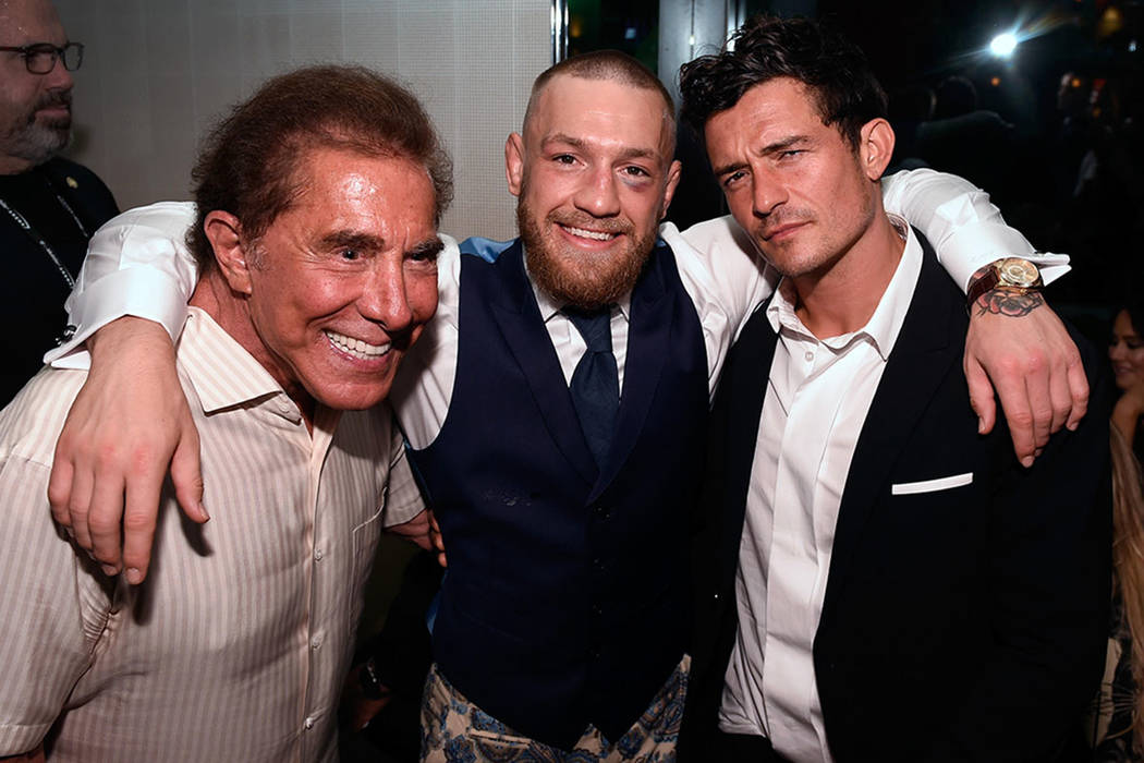 From left, Wynn Resorts Limited CEO Steve Wynn, Conor McGregor and actor Orlando Bloom attend McGregor's after fight party and his Wynn Nightlife residency debut at the Encore Beach Club at Night  ...