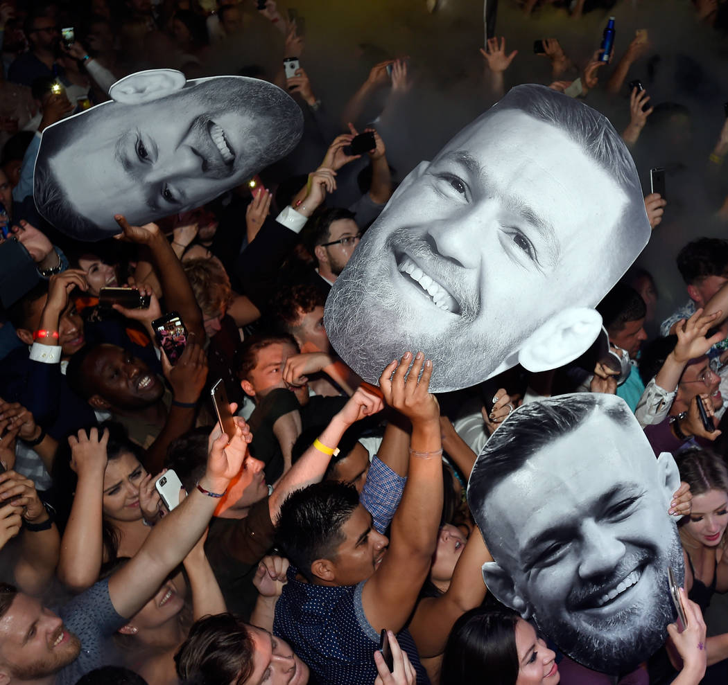 Large cutout faces of Conor McGregor are seen at his after fight party and his Wynn Nightlife residency debut at the Encore Beach Club at Night at Wynn Las Vegas on August 27, 2017 in Las Vegas.   ...
