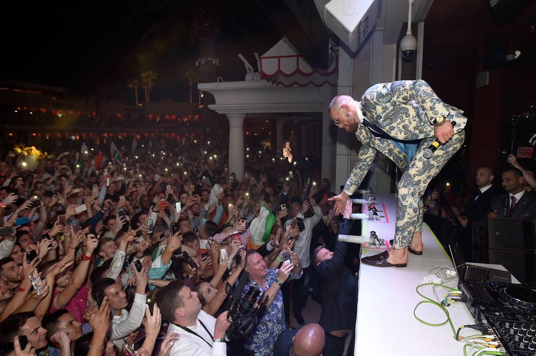 Conor McGregor attends his after fight party and his Wynn Nightlife residency debut at the Encore Beach Club at Night at Wynn Las Vegas on August 27, 2017 in Las Vegas.  (Photo by David Becker/Get ...