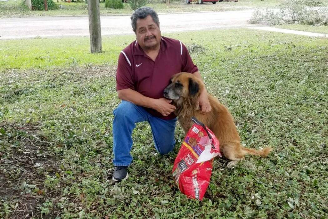 Salvador Segovia and Otis pose outside Segovia's home in Stinton, Texas, on Saturday. Otis, who belongs to Segovia's grandson, was seen walking on the street after the storm and carrying the bag o ...