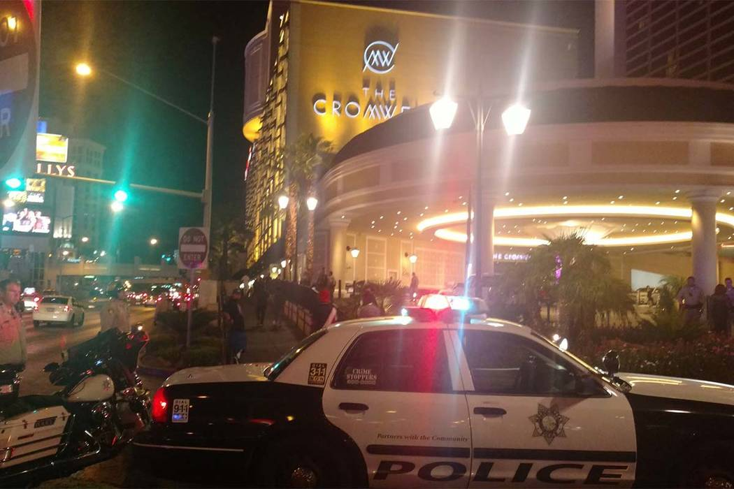 Las Vegas police responded to an incident near The Cromwell Monday morning. (Max Michor/Las Vegas Review-Journal)
