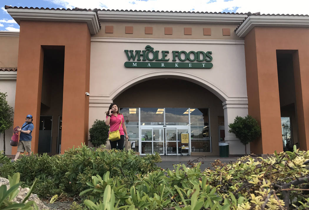 Summerlin Whole Foods Market pictured on Monday, Aug. 28, 2017, in Las Vegas. Amazon kicked off its first day as the owner of Whole Foods by slashing prices and adding its logo on signs. David Guz ...