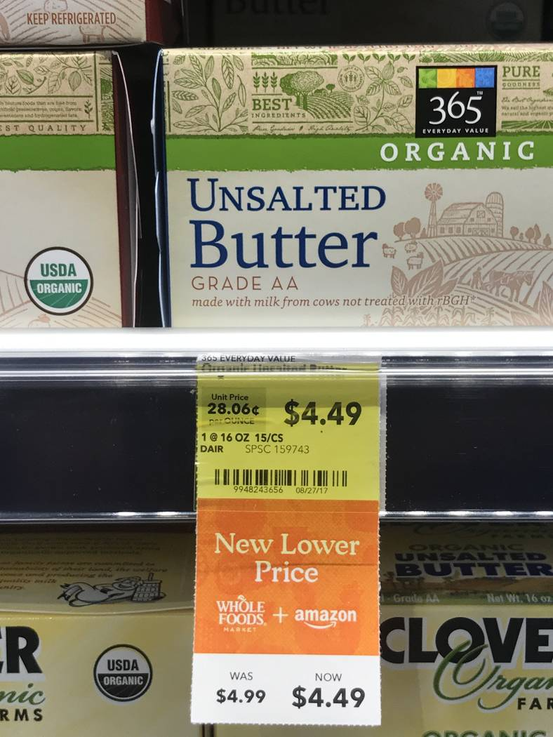 Organic unsalted butter at the Summerlin Whole Foods Market on Monday, Aug. 28, 2017, in Las Vegas. Amazon kicked off its first day as the owner of Whole Foods by slashing prices and adding its lo ...