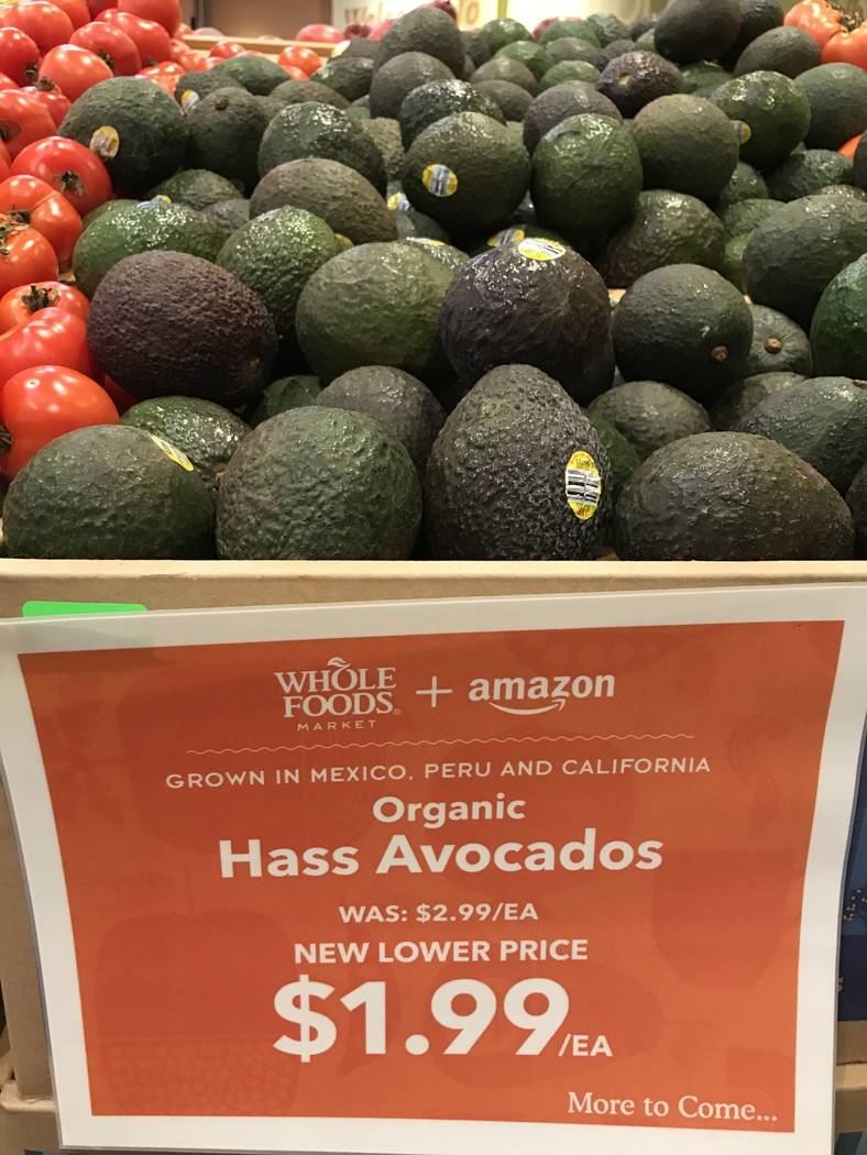 Organic avocados at the Summerlin Whole Foods Market on Monday, Aug. 28, 2017, in Las Vegas. Amazon kicked off its first day as the owner of Whole Foods by slashing prices and adding its logo on s ...