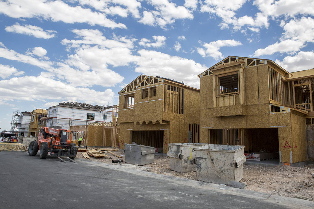 Frames of new Century Communities homes in southwest Las Vegas on Wednesday, Aug. 9, 2017. (Patrick Connolly/Las Vegas Review-Journal) @PConnPie