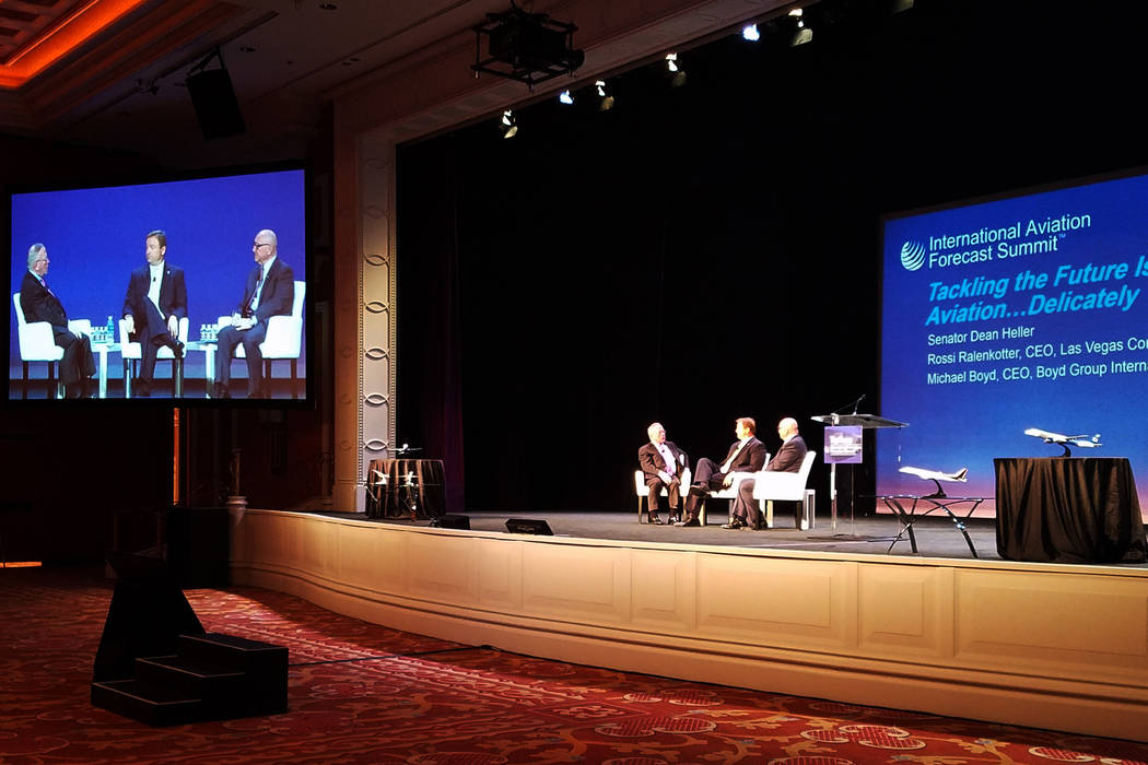 Mike Boyd, CEO of Colorado-based Boyd Group International, interviews Sen. Dean Heller, R-Nev., and Las Vegas Convention and Visitors Authority President and CEO Rossi Ralenkotter at the 22nd annu ...