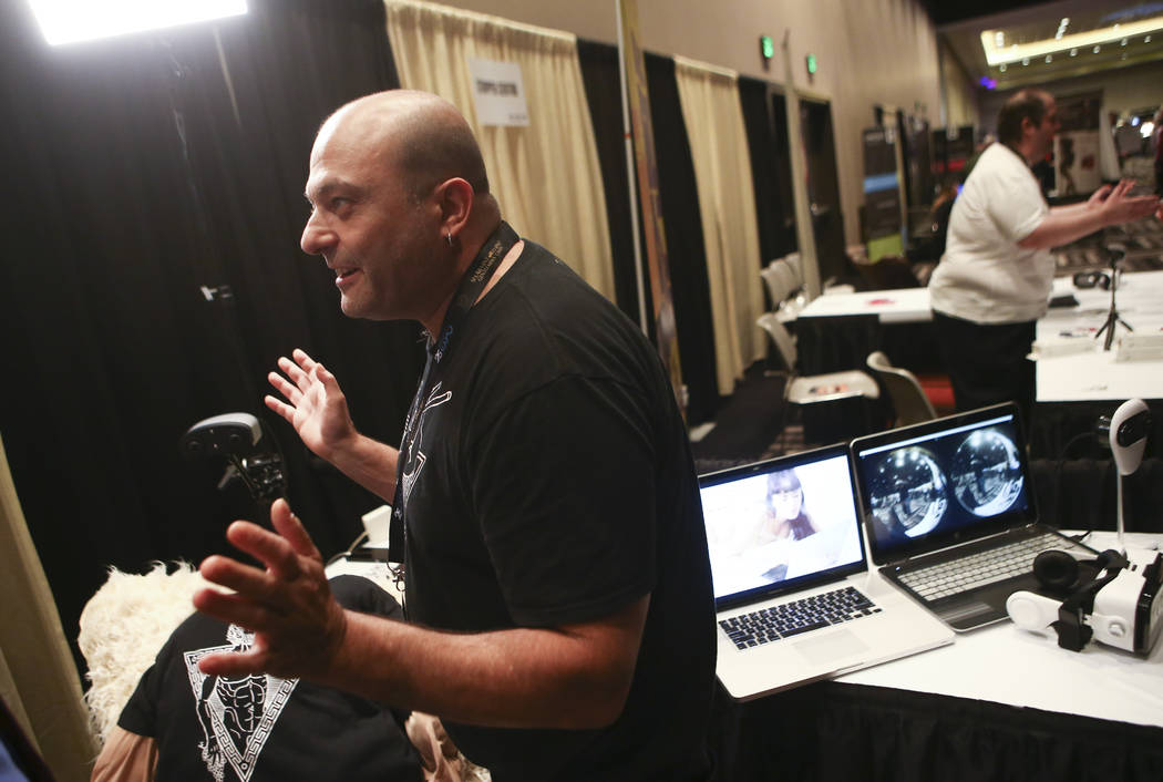 Mikael Rid Vicious Levy of Terpon, a virtual reality camera company, during the Gentlemen's Club Expo at Hard Rock Hotel in Las Vegas on Tuesday, Aug. 29, 2017. Chase Stevens Las Vegas Review-Jour ...
