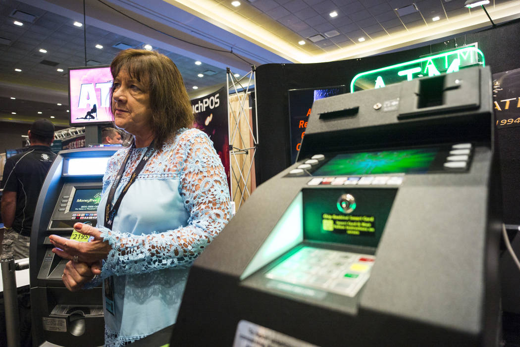 Mary Jane Young of MoneyTree during the Gentlemen's Club Expo at Hard Rock Hotel in Las Vegas on Tuesday, Aug. 29, 2017. Chase Stevens Las Vegas Review-Journal @csstevensphoto