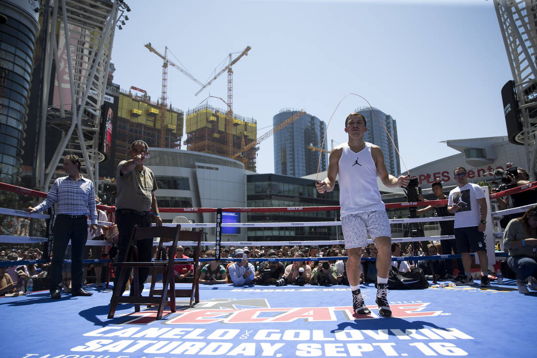 Gennady Golovkin, right, during a media workout with his trainer Abel Sanchez, left, at L.A. Live in Los Angeles, Calif., on Monday, Aug. 28, 2017. Erik Verduzco Las Vegas Review-Journal @Erik_Ver ...