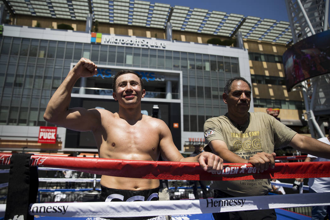 Gennady Golovkin, left, during a media workout with his trainer Abel Sanchez at L.A. Live in Los Angeles, Calif., on Monday, Aug. 28, 2017. Erik Verduzco Las Vegas Review-Journal @Erik_Verduzco