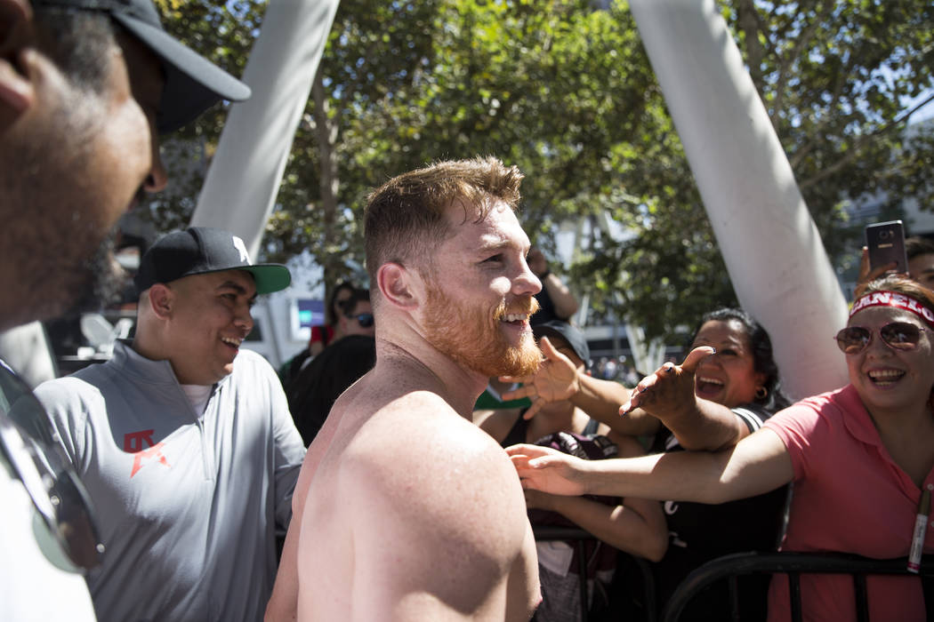 "Saul ""Canelo"" Alvarez following a media workout at L.A. Live in Los Angeles, Calif., on Monday, Aug. 28, 2017. Erik Verduzco Las Vegas Review-Journal @Erik_Verduzco"