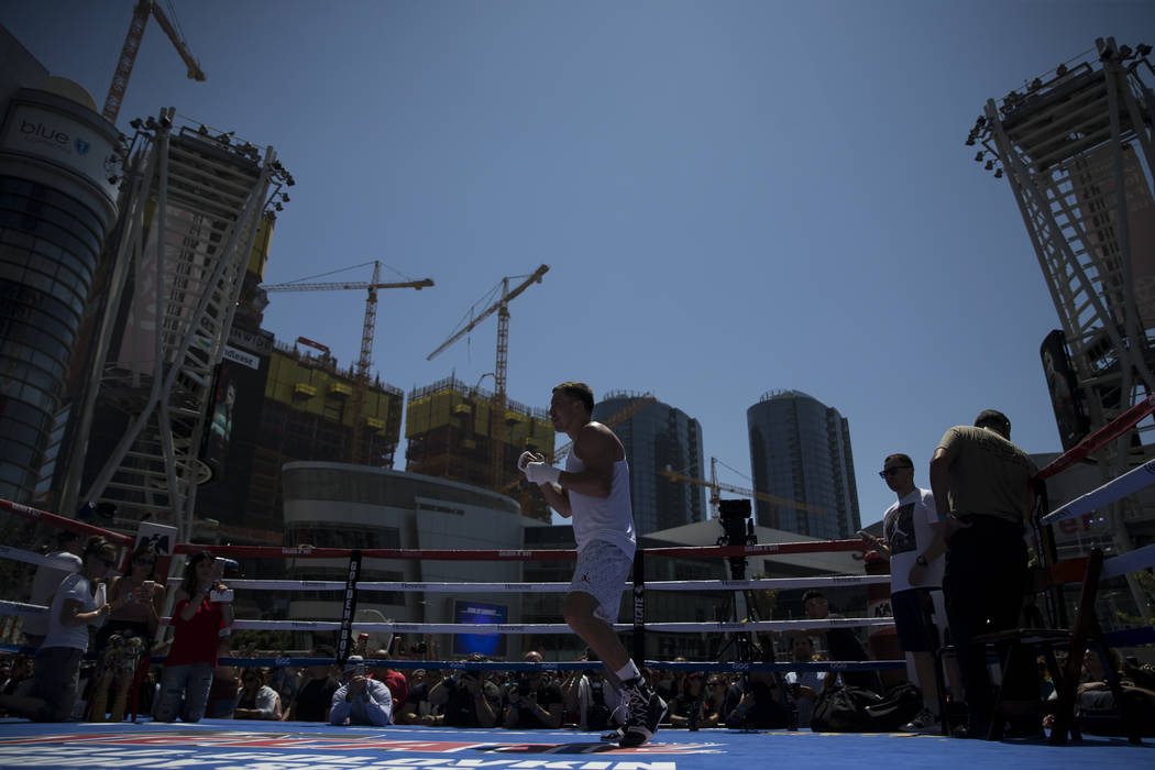 Gennady Golovkin during a media workout at L.A. Live in Los Angeles, Calif., on Monday, Aug. 28, 2017. Erik Verduzco Las Vegas Review-Journal @Erik_Verduzco