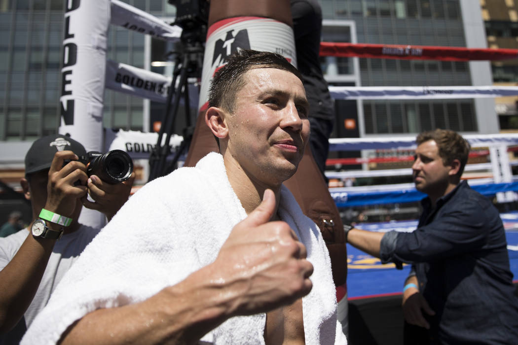 Gennady Golovkin following a media workout at L.A. Live in Los Angeles, Calif., on Monday, Aug. 28, 2017. Erik Verduzco Las Vegas Review-Journal @Erik_Verduzco