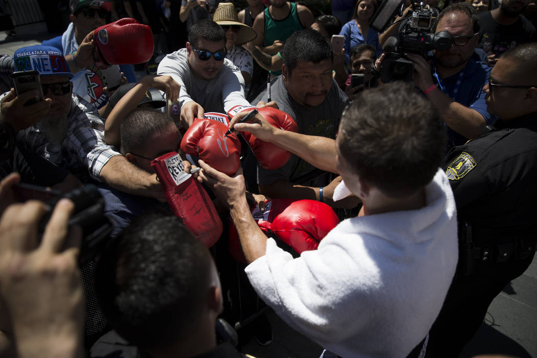 Gennady Golovkin signs an autograph following a media workout at L.A. Live in Los Angeles, Calif., on Monday, Aug. 28, 2017. Erik Verduzco Las Vegas Review-Journal @Erik_Verduzco
