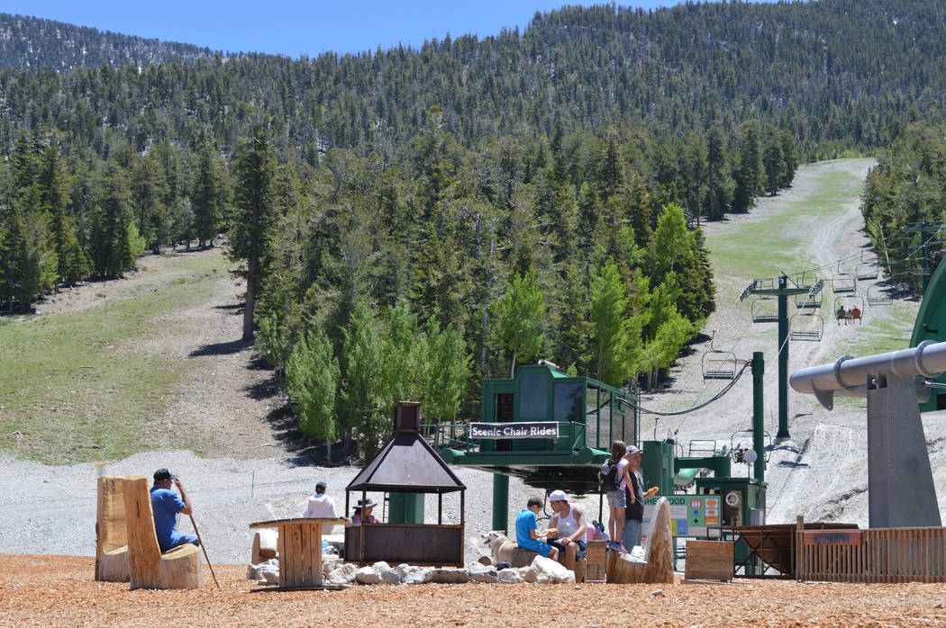 Visitors go on the scenic chair lift at Lee Canyon. (Forte PR)