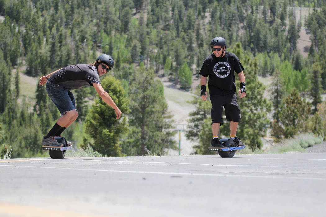 Visitors try out Onewheels at Lee Canyon during the summer. (Forte PR)