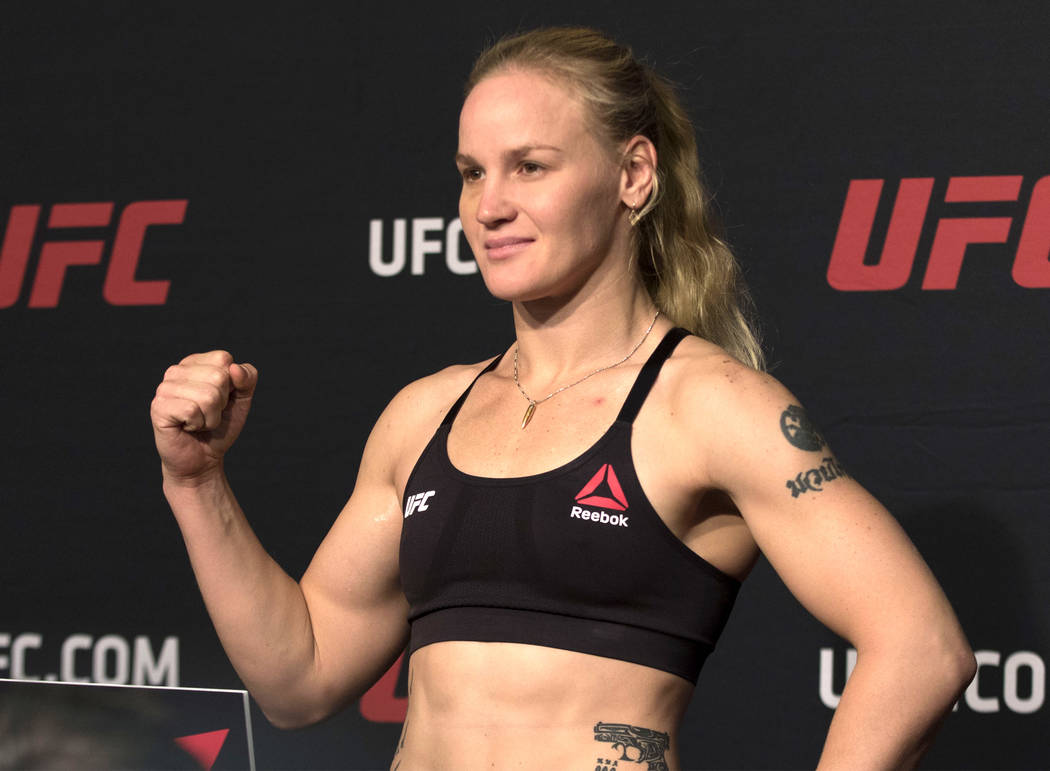 UFC women's bantamweight Valentina Shevchenko hits the scale at the UFC 213 official weigh-ins on July 7, 2017 at the MGM Grand hotel-casino. Heidi Fang/Las Vegas Review-Journal @HeidiFang