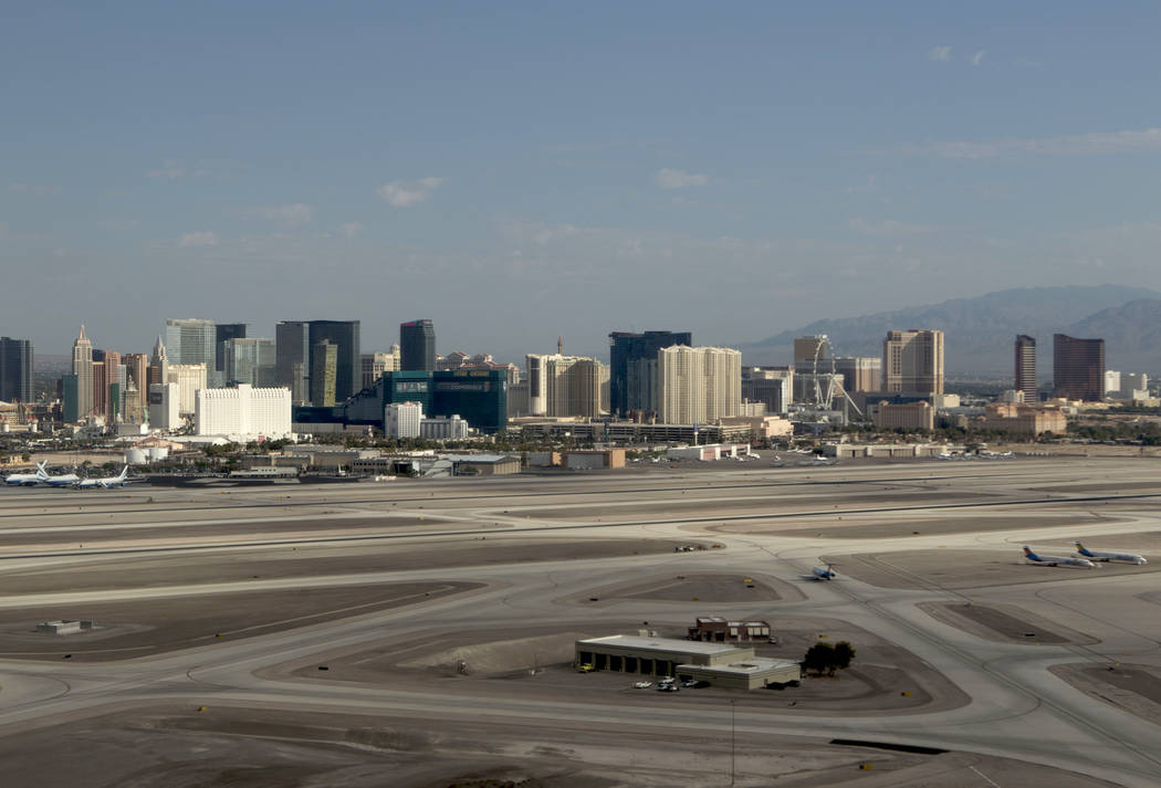 An aerial view of McCarran International Airport in Las Vegas on Wednesday, July 26, 2017. (Heidi Fang/Las Vegas Review-Journal) @HeidiFang