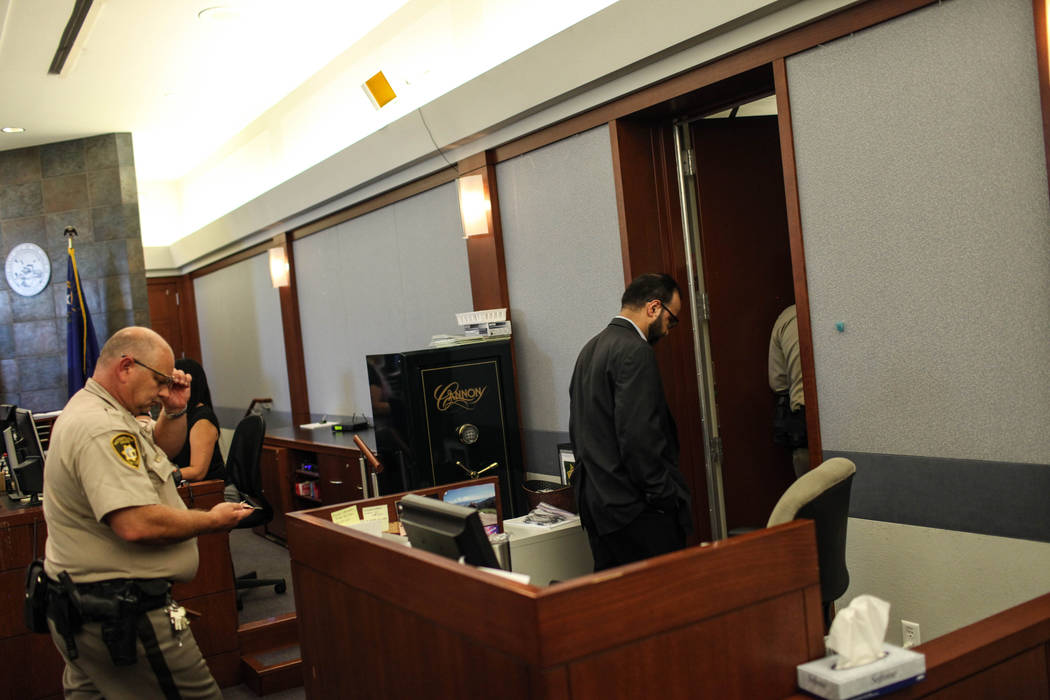 John Valerio appears in court after being given a verdict of life without parole at the Clark County Regional Justice Center in Las Vegas on Aug. 28, 2017. Joel Angel Juarez Las Vegas Review-Journ ...