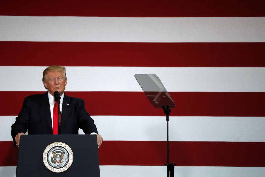 President Donald Trump pauses while speaking about on tax reform, Wednesday, Aug. 30, 2017, at the Loren Cook Company in Springfield, Missouri. (Jeff Roberson/AP)