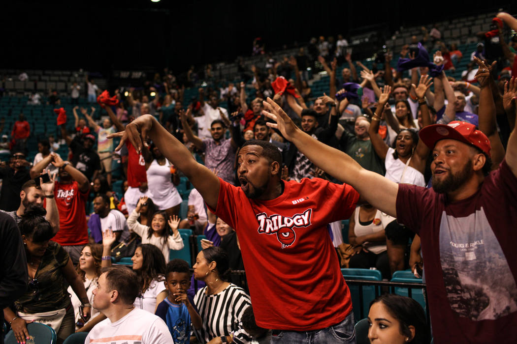 Will Smith cheers between games during the Big 3 Championship at the MGM Grand Garden Arena in Las Vegas on Aug. 26, 2017. Joel Angel Juarez Las Vegas Review-Journal @jajuarezphoto
