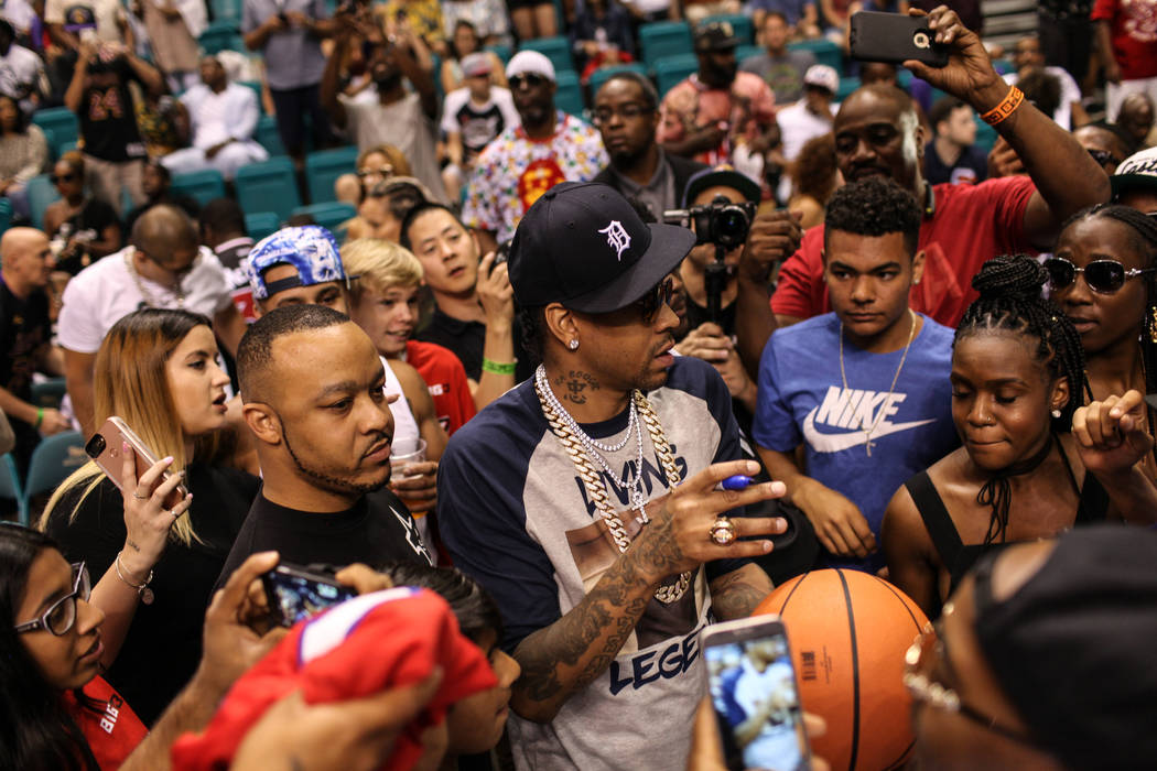 Allen Iverson greets fans between games at the Big 3 Championship at the MGM Grand Garden Arena in Las Vegas on Aug. 26, 2017. Joel Angel Juarez Las Vegas Review-Journal @jajuarezphoto