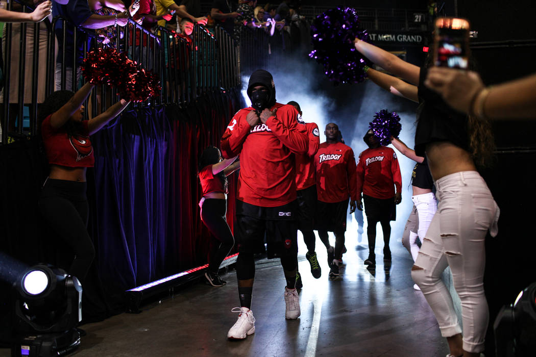 Trilogy's Rashad McCants (32) leads his team onto the court at the start of the Big 3 Championship match at the MGM Grand Garden Arena in Las Vegas on Aug. 26, 2017. Trilogy beat the 3 Headed Mons ...