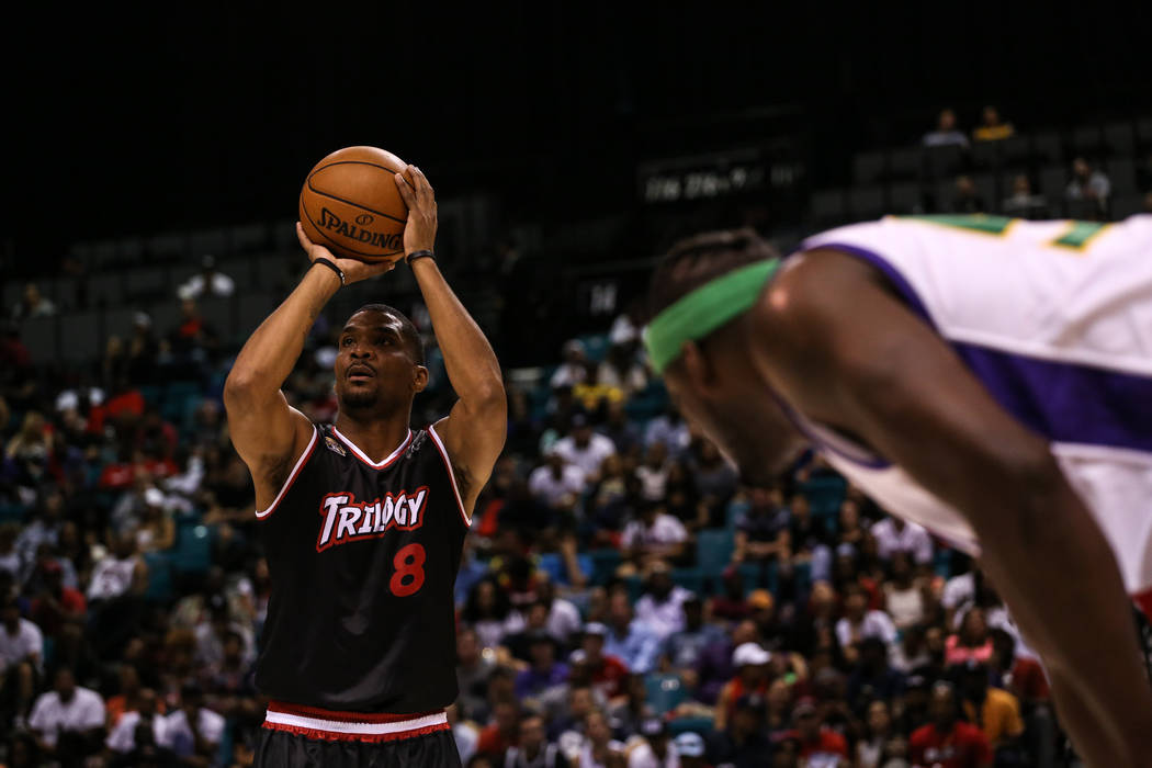 Trilogy's James White (8) shoots a free-throw during the first half of the Big 3 Championship match at the MGM Grand Garden Arena in Las Vegas on Aug. 26, 2017. Trilogy beat the 3 Headed Monsters  ...