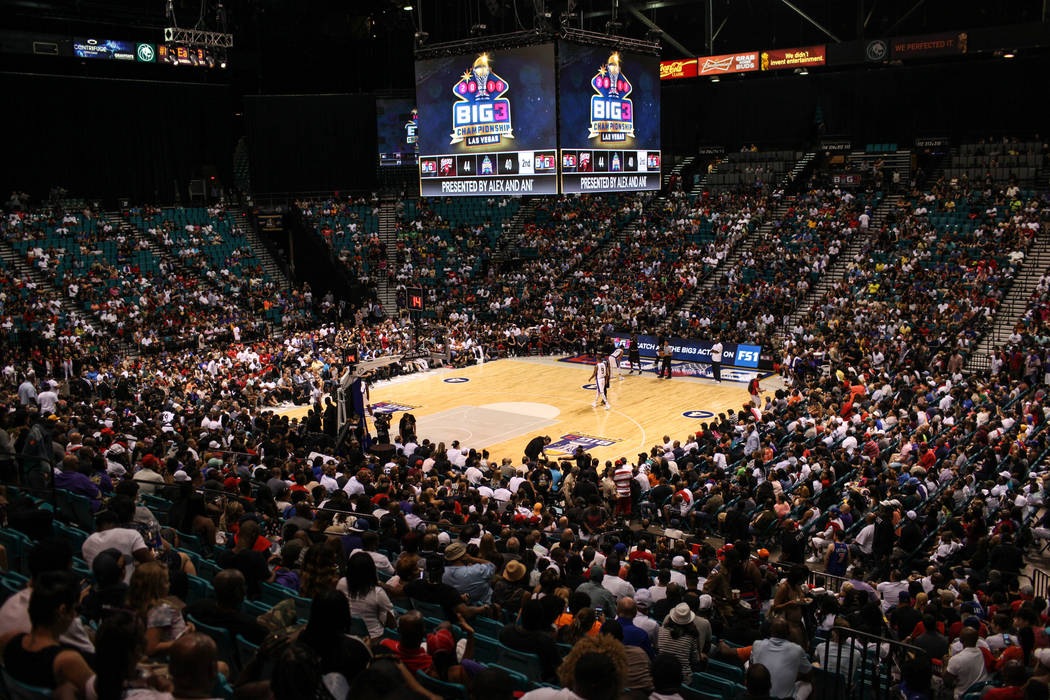 Crowds cheer during the second half of the Big 3 Championship match at the MGM Grand Garden Arena in Las Vegas on Aug. 26, 2017. Trilogy beat the 3 Headed Monsters 51-46. Joel Angel Juarez Las Veg ...