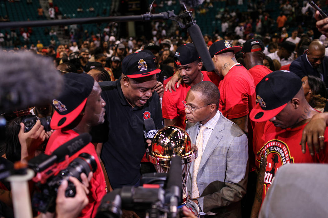 Trilogy's Coach Rick Mahorn is interviewed after winning the Big 3 Championship match at the MGM Grand Garden Arena in Las Vegas on Aug. 26, 2017. Trilogy beat the 3 Headed Monsters 51-46. Joel An ...