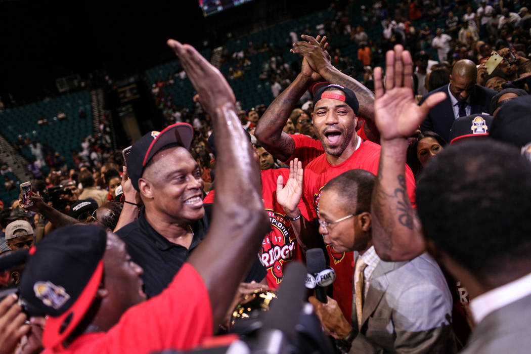 Trilogy's James White (8) cheers with his team after winning the Big 3 Championship match at the MGM Grand Garden Arena in Las Vegas on Aug. 26, 2017. Trilogy beat the 3 Headed Monsters 51-46. Joe ...