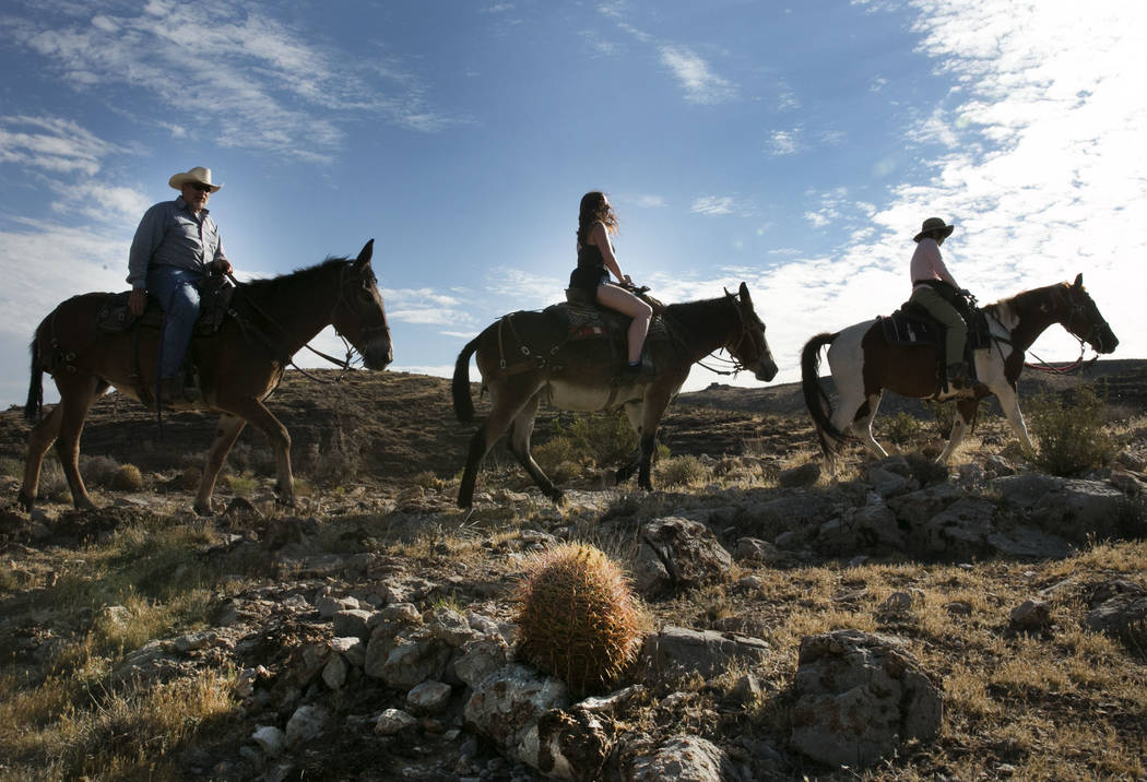 Big Jim, left, owner of Cowboy Trail Rides, follows Louise Harris, center, of England and Daisy Chan of Hong Kong during their horseback riding tour of Red Rock Canyon on Monday, Aug. 28, 2017, in ...