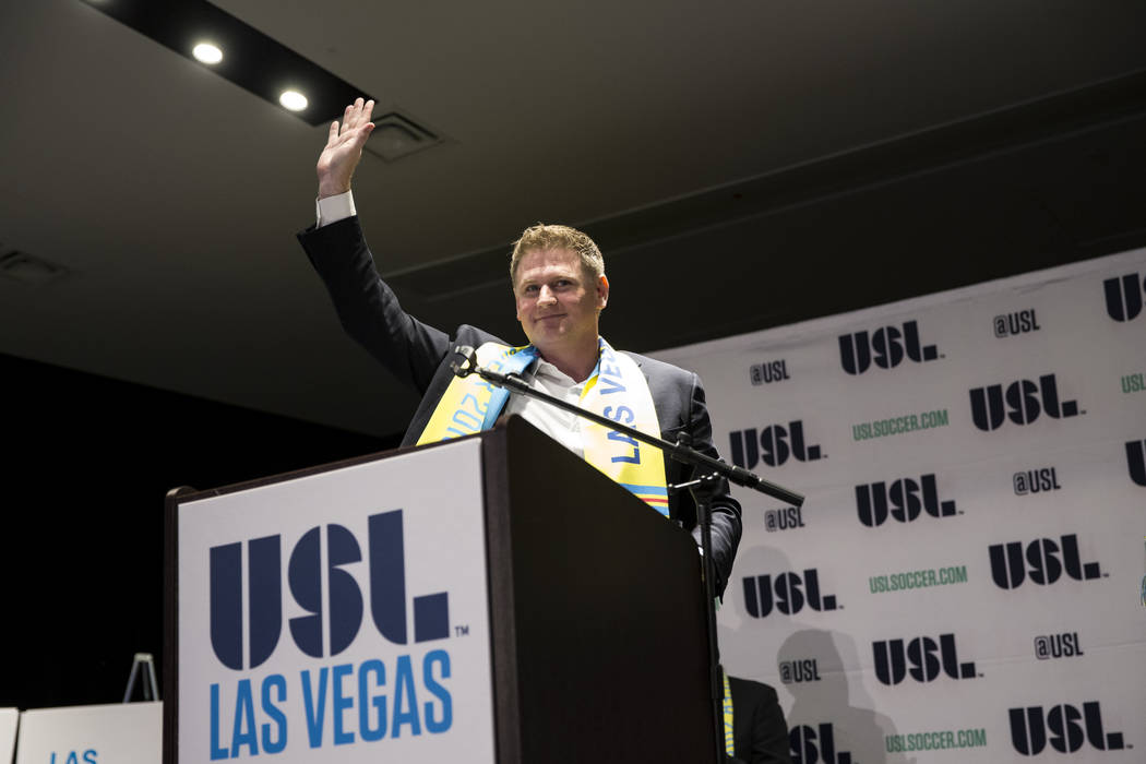 Brett Lashbrook, founder of Las Vegas Soccer LLC, during an event celebrating his new Las Vegas soccer team to play in the United Soccer League during an event at the Zappos campus in Las Vegas on ...