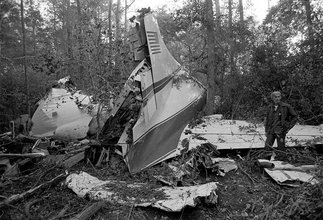 This is a view of the wreckage of a twin engine Convair 240 plane that crashed into a wooded area near McComb, Mississippi, Oct. 20, 1977.  The small plane had 26 people on board including three m ...