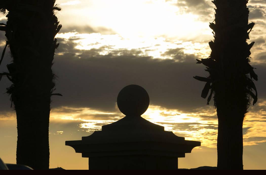 Clouds cover the rising sun over the Las Vegas Valley on Tuesday, Aug. 29, 2017. (Bizuayehu Tesfaye/Las Vegas Review-Journal) @bizutesfaye