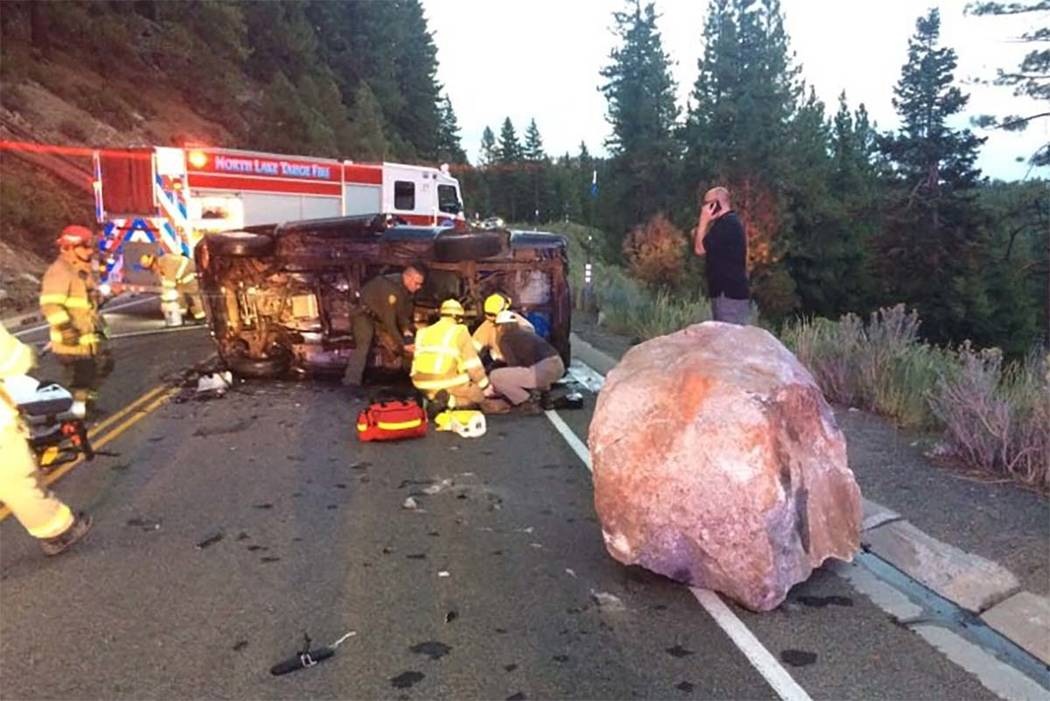 A driver was hospitalized after a single-car crash involving a boulder onahighwaynexttoLakeTahoe in Northern Nevada, Tuesday, Aug. 29, 2017. (Nevada Highw ...