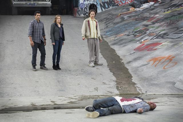 "Cliff Curtis as Sean, Kim Dickens as Miranda and Frank Dillane as Nick in ""Fear the Walking Dead."" (Courtesy, AMC)"