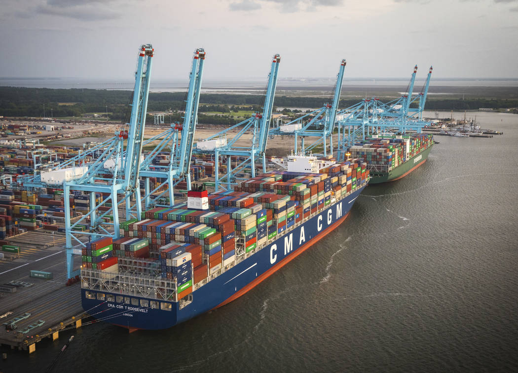 The CMA CGM Theodore Roosevelt being unloaded at the Virginia International Gateway in Norfolk, Va. on Monday Aug. 28, 2017. The arrival of the ship breaks the record for largest container ship ev ...