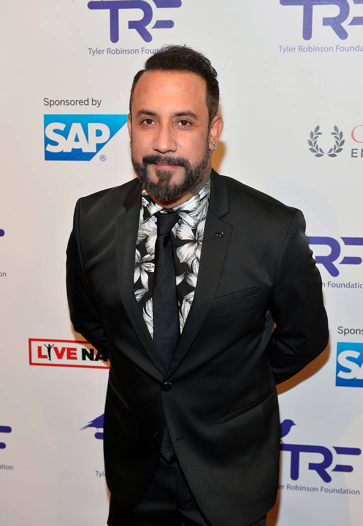 Singer AJ McLean of the Backstreet Boys arrives at the Tyler Robinson Foundation's fourth annual Believer Gala at Caesars Palace on Aug. 25. (Bryan Steffy/WireImage)