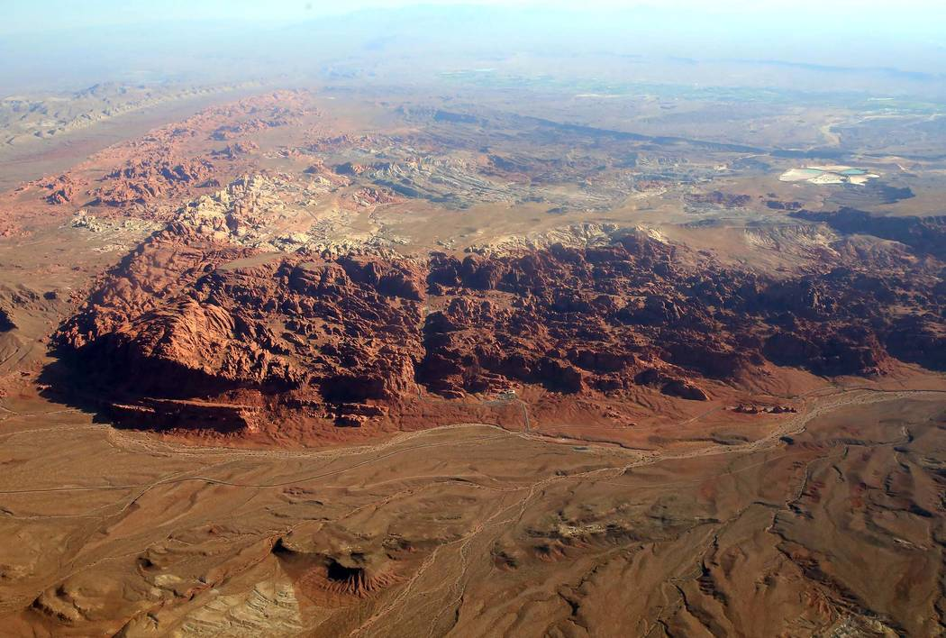 An aerial photo of Hidden Valley in Gold Butte National Monument on Friday, July 21, 2017. Gold Butte is the name for both a mountain peak and nearby ghost town in the eastern hook of Clark County ...