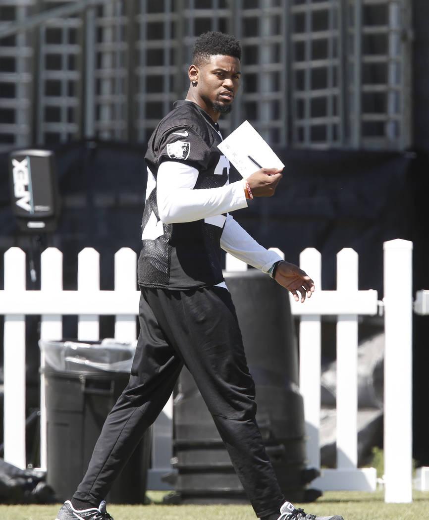 The Oakland Raiders cornerback Gareon Conley walks on the sideline during teams practice at Raiders Napa Valley training complex in Napa, Calif., on Monday, July 31, 2017. Bizuayehu Tesfaye Las Ve ...