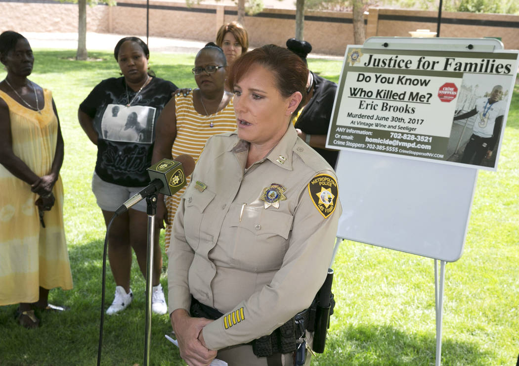 Metropolitan Police Department Capt. Roxanne Burke asks the community to help catch Eric Brooks' killer at the community park at the intersection of Seeliger Street and Vintage Wine Avenue on Tues ...