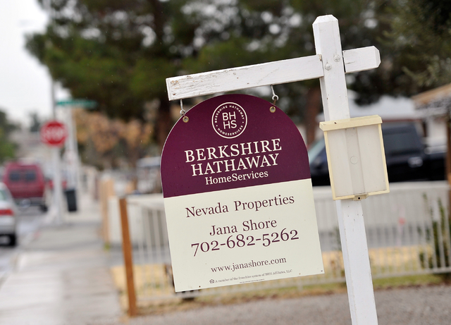 A for sale sign is displayed in front of a downtown home Tuesday, Jan. 19, 2016, in Las Vegas. David Becker/Las Vegas Review-Journal