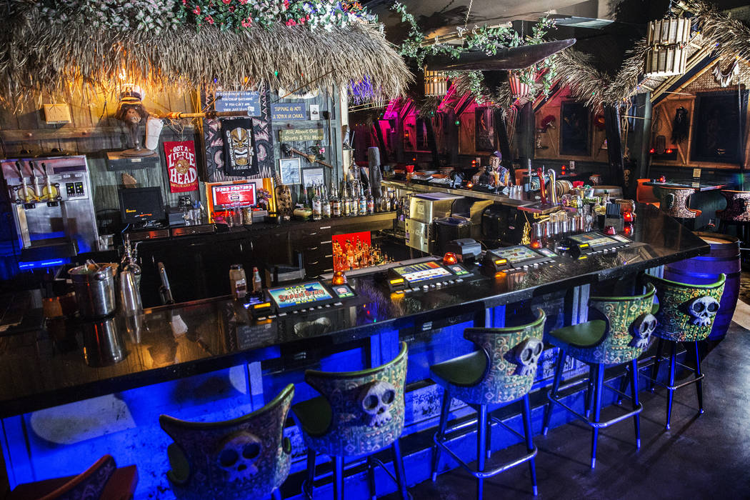 The beach-inspired bar at The Golden Tiki on Wednesday, Aug 16, 2017, in Las Vegas. (Benjamin Hager/Las Vegas Review-Journal) @benjaminhphoto