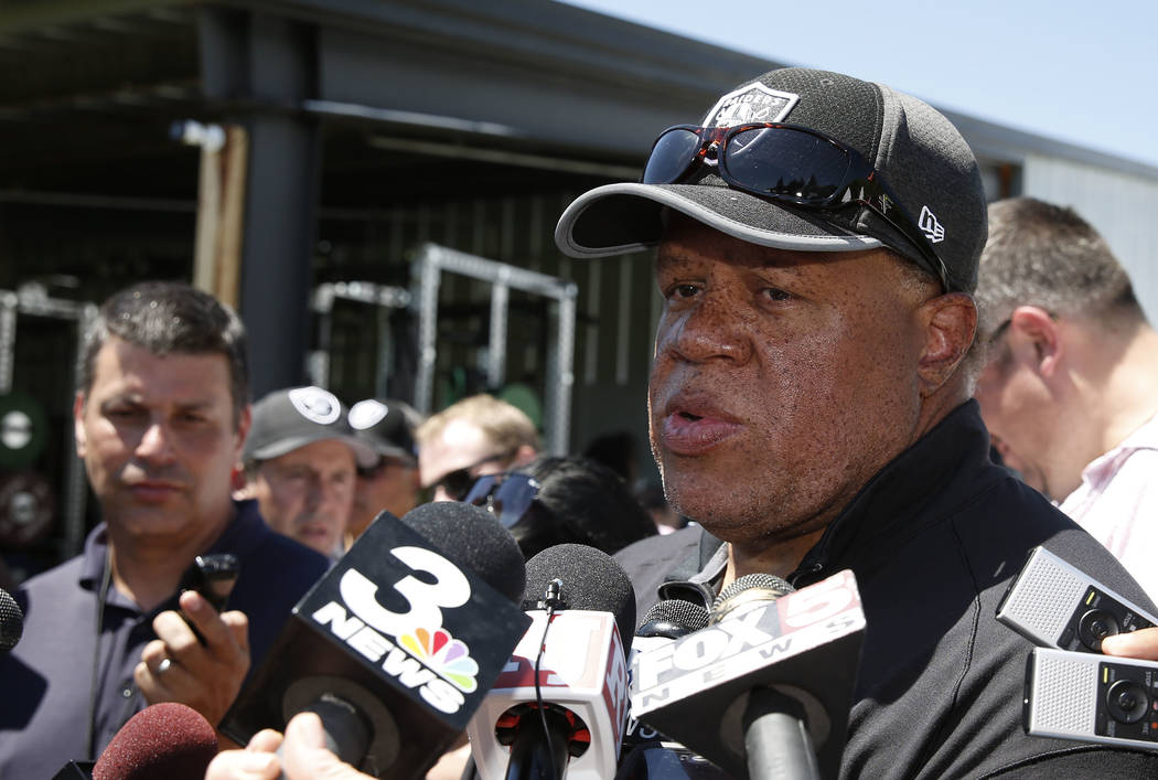 The Oakland Raiders general manager Reggie McKenzie talks about the grand jury's decision not to indict cornerback Gereon Conley at Raiders Napa Valley training complex in Napa, Calif., on Monday, ...