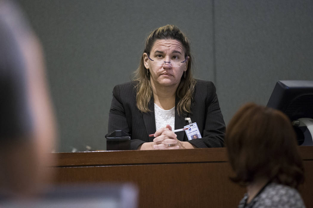 Clark County Medical Examiner Lisa Gavin on the witness stand during the preliminary hearing for Assuan Martinez, a father charged with murder in the death of his infant son, at the Regional Justi ...